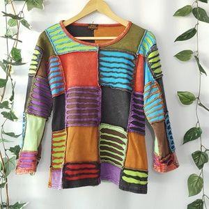 Rising International artsy patchwork top sz XL